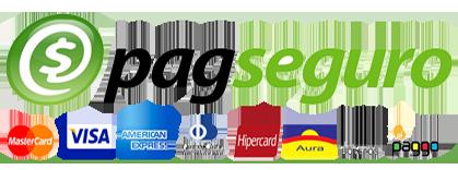 Formas de pagamento: PagSeguro, cartões de crédito e boleto bancário.